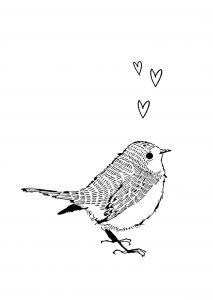 Kaart vogel hartjes, Marieke ten Berge 2