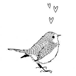 Kaart vogel hartjes, Marieke ten Berge