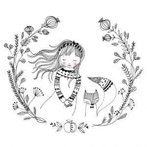 Kaart meisje met vos, Marieke ten Berge