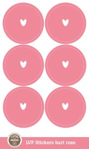 Sluitzegels of sticker rose of lichtblauw met hart 3