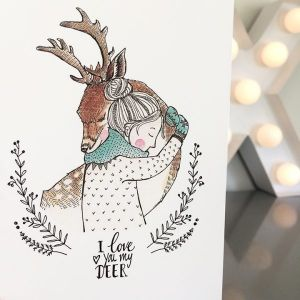 Kaart I love you my deer, Marieke ten Berge 1