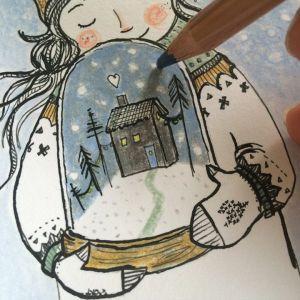 Kaart meisje winter sneeuwbol, Marieke ten Berge 1