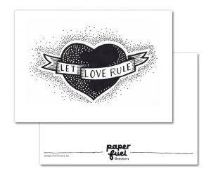 Kaart Let love rule, Paperfuel