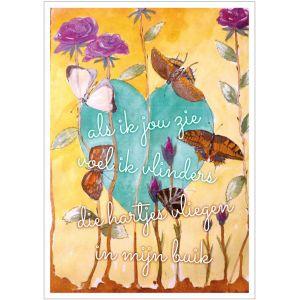 Kunst kaart vlinders in mijn buik Anna & Evie 1