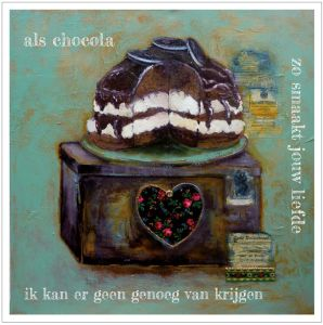 Kunst kaart chocola, Anna & Evie 1