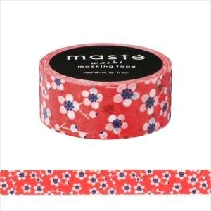 Maskingtape rood met bloemetjes Masté 1