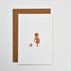 Kaart meisje met eendje, Letterpers