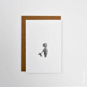 Kaart jongen teddybeer, Letterpers