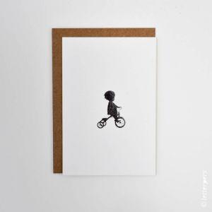 Kaart jongen fietsje, Letterpers