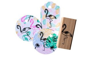 Flamingo stempel medium, Miss Honeybird 3