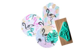 Flamingo stempel medium, Miss Honeybird 5