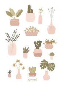Planten poster A4, Minimel 2