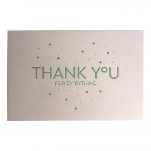 """Wenskaart """"Thank you"""" ambachtelijk gedrukt van Letterpers 2"""