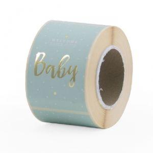 Sticker baby in rose of blauw met goud 1