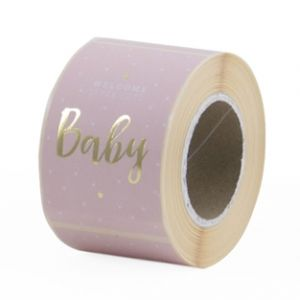 Sticker baby in rose of blauw met goud 3