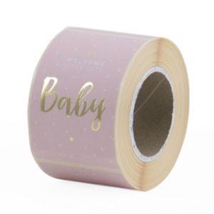 Sticker baby in rose of blauw met goud 2