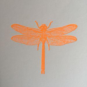 Libelle kaart fluor oranje Letterpers 3
