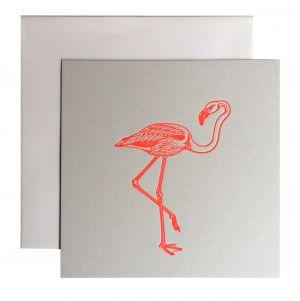Flamingo kaart fluor roze Letterpers 1