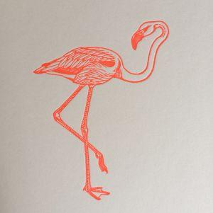 Flamingo kaart fluor roze Letterpers 3