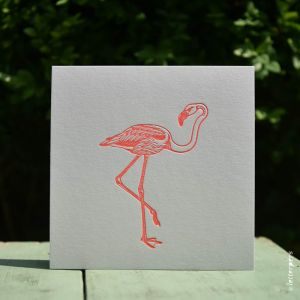 Flamingo kaart fluor roze Letterpers