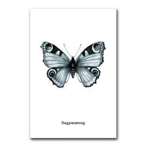 Kaart dagpauwoog vlinder zwart/wit BDDesigns 1