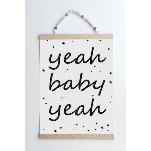 Yeah baby yeah poster A4 zwart/wit Sparkling Paper 1
