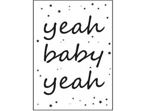 Yeah baby yeah poster A4 zwart/wit Sparkling Paper 2