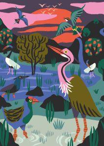 Kaart Vogelreservaat, Marijke Buurlage Illustration 2