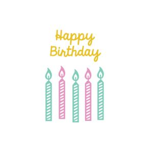 Ministempel Happy Birthday (geschreven), Miss Honeybird 4