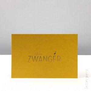 Hoera zwanger kaart geel, Letterpers 2