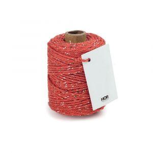 Rolletje touw oranjerood met goud HOP 1