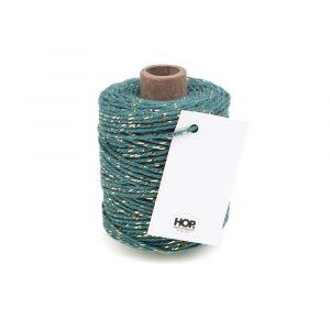 Rolletje touw turquoise met goud HOP 1