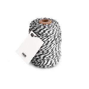 Rolletje touw zwart/wit gestreept HOP 1