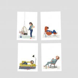 Belly kaart 'thee en schommelstoel' Studio Zwaanstraat 6