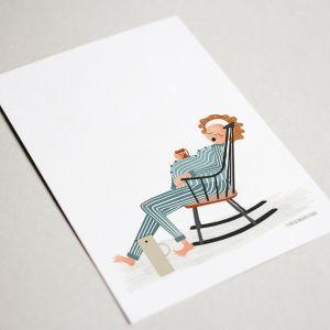 Belly kaart 'thee en schommelstoel' Studio Zwaanstraat 3