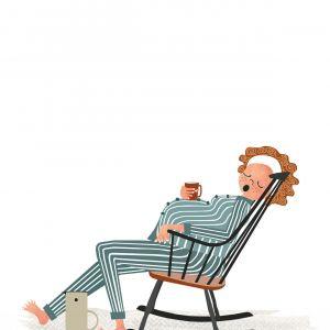 Belly kaart 'thee en schommelstoel' Studio Zwaanstraat 4