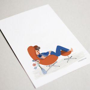Belly kaart 'eggchair jacobsen' Studio Zwaanstraat 3