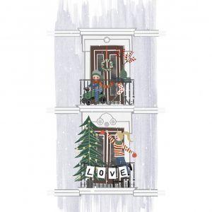 Kerstkaart 'kerstbalkon' Studio Zwaanstraat 5