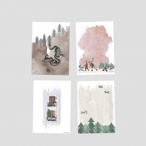 Kerstkaart 'dennenbos met vogeltjes' Studio Zwaanstraat 2