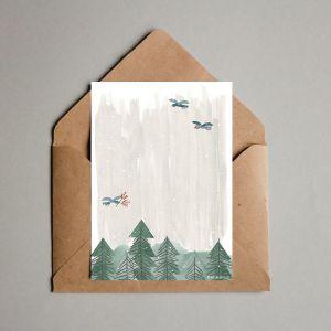 Kerstkaart 'dennenbos met vogeltjes' Studio Zwaanstraat 3