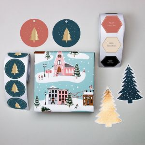 Sticker petrol met gouden kerstboom, HOP 2