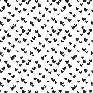 Vloeipapier wit met zwarte hartjes 2