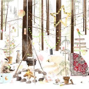 A3 (Kerst) Poster ijsbeer in het bos, Ruth Hengeveld 2