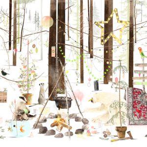 A3 (Kerst) Poster ijsbeer in het bos, Ruth Hengeveld 1