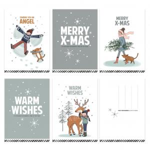 Kerstkaart Merry X-mas illustratie (CWH) 2