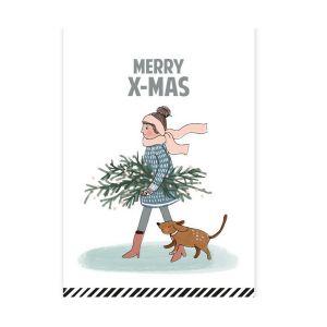 Kerstkaart Merry X-mas illustratie (CWH) 1