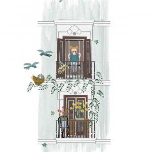 Kaart 'Balkon lente', Studio Zwaanstraat 5
