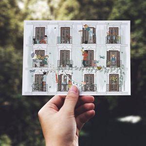 Dubbele kaart 'Lente', Studio Zwaanstraat 1