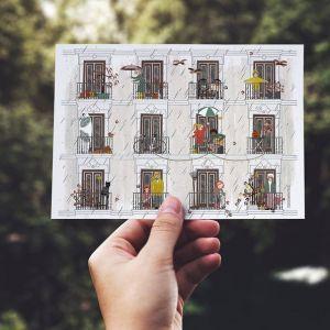 Dubbele kaart 'Herfst', Studio Zwaanstraat 1