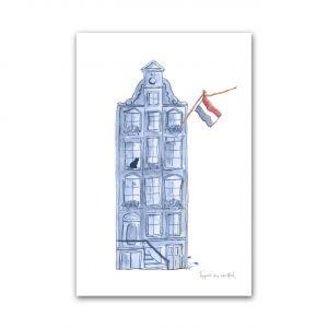 Kaart Hollands blauw huisje, Fantasiebeestjes 1
